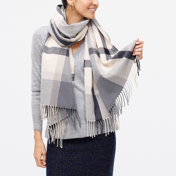 J. Crew Factory Classic Plaid Scarf Grey Ivory